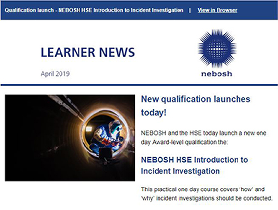 NEBOSH Student Newsletter April 2019