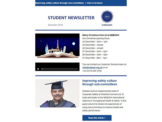 NEBOSH Student Newsletter December 2018