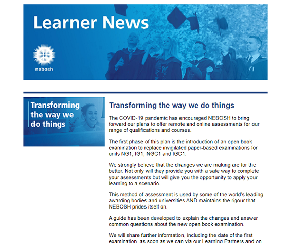 NEBOSH Learner Newsletter June 2020