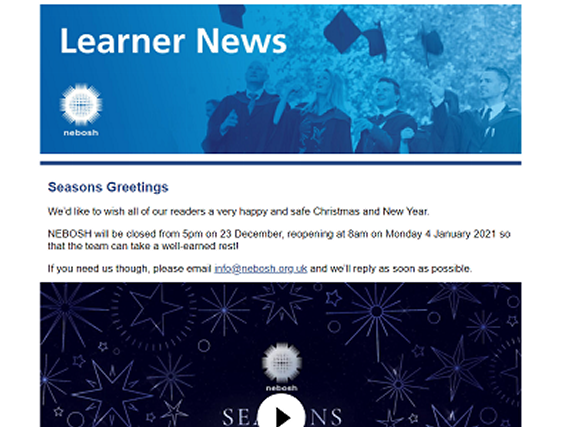 NEBOSH Learner Newsletter December 2020